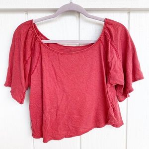 🚘MOVING🚘 FREE PEOPLE Red Short Sleeve Crop Top S